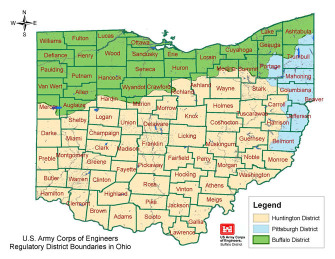 Buffalo District Missions Regulatory Ohio Permit Information - Us corps of engineers district map